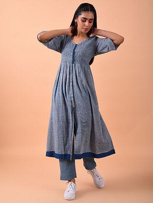 Blue Naturally Dyed Jamdani Hand Spun Cotton Dress