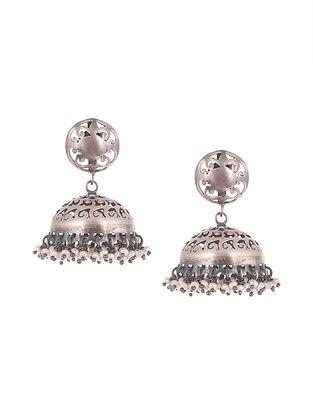 Tribal Silver Jhumki  Earrings with Fresh Water Pearls