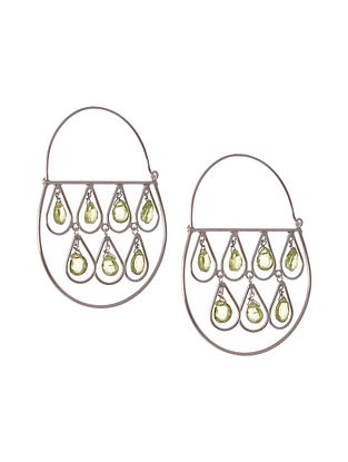 Tribal Silver Earrings with Peridot