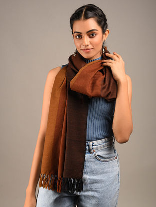 Brown Handwoven Wool Stole