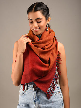 Orange Handwoven Wool Stole
