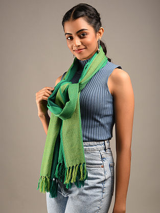 Green Handwoven Wool Stole
