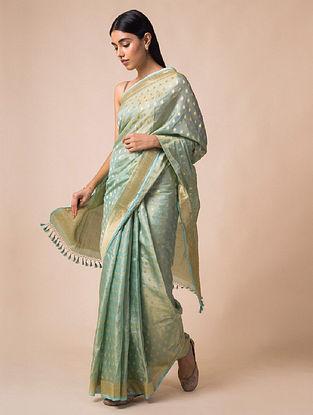 Blue Handloom Benarasi Cutwork Silk Saree