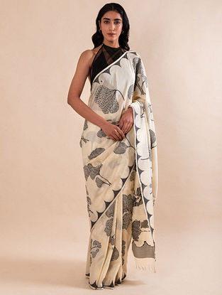 White Handloom Benarasi Cutwork Silk Saree