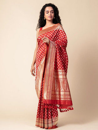Red Handloom Benarasi Cutwork Silk Saree