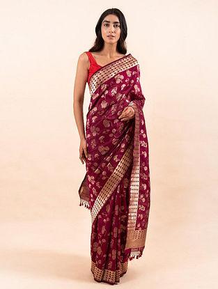 Maroon Handloom Benarasi Cutwork Silk Saree