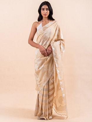 Off White Handloom Benarasi Cutwork Silk Saree