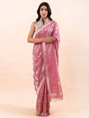 Pink Handloom Benarasi Cutwork Silk Saree