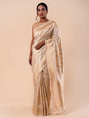 Off White Handloom Benarasi Kadhwa  Silk Saree