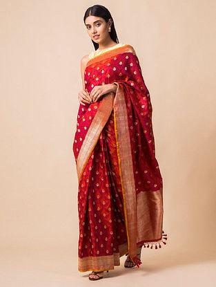 Red Handloom Tanchoi Silk Saree