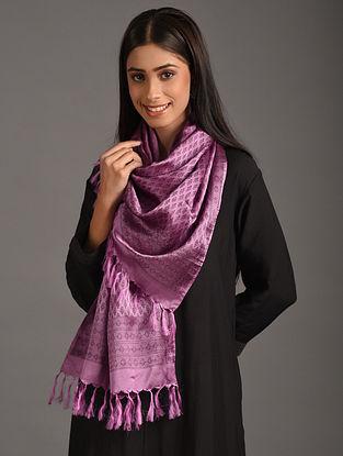 Purple Handwoven Benarasi Tanchoi Silk Stole