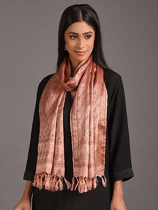Pink Handwoven Benarasi Tanchoi Silk Stole