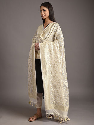 White Handwoven Benarasi Georgette Dupatta