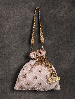 Baby Pink Handcrafted Chikankari Silk Potli