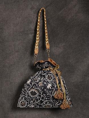 Black Handcrafted Chikankari Silk Potli