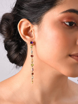Gold Plated Sterlin Silver Earrings With Gemstones