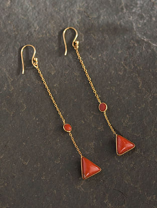 Gold Plated Sterlin Silver Earrings With Coral