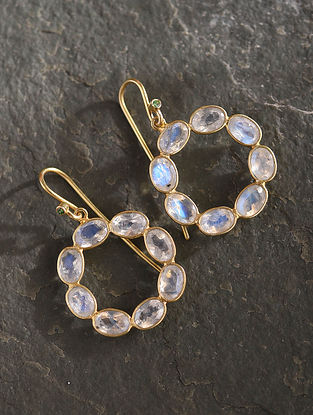 Gold Plated Sterlin Silver Hoop Earrings With Moonstone