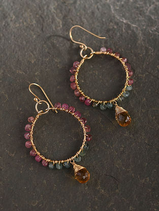Gold Plated Sterlin Silver Hoop Earrings With Multi Tourmaline