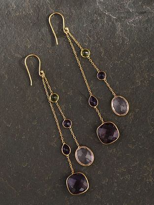 Gold Plated Sterlin Silver Earrings With Multistone