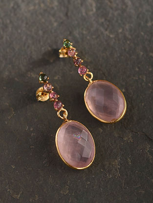 Gold Plated Sterlin Silver Earrings With Multi Tourmaline And Rose Quartz