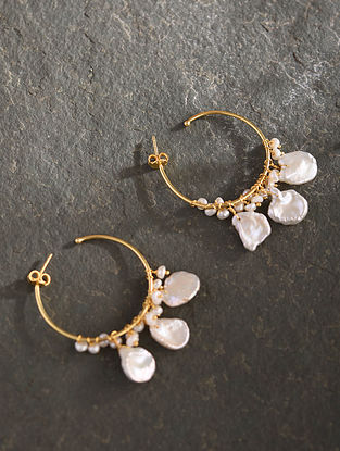 Gold Plated Sterlin Silver Earrings With Pearls