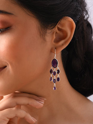 Gold Plated Sterlin Silver Earrings With Amethyst