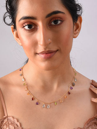 Gold Plated Sterlin Silver Necklace With Multi Gemstone