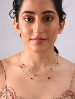 Gold Plated Sterlin Silver Necklace With Morganite And Ruby
