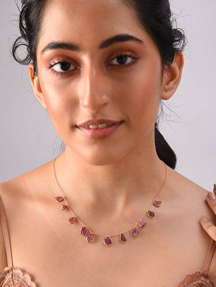 Gold Plated Sterlin Silver Necklace With Raw Tourmaline