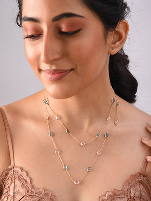Gold Plated Sterlin Silver Necklace With Apetite And Morganite