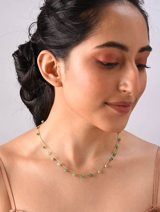Gold Plated Sterlin Silver Necklace With Emerald