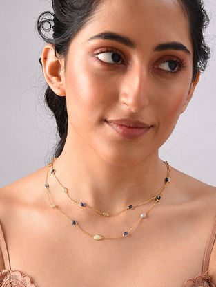 Gold Plated Sterlin Silver Necklace With Rainbow And Tanzanite