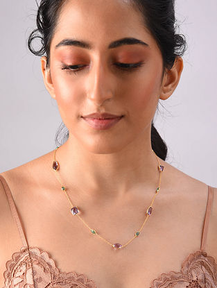Gold Plated Sterlin Silver Necklace With Emerald And Amethyst