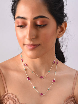 Sterling Silver Necklace With Emerald And Ruby