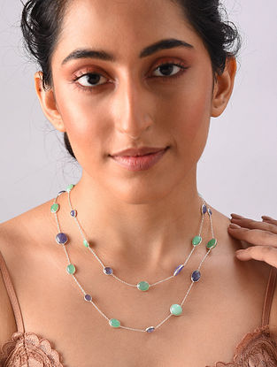 Sterling Silver Necklace With Emerald And Tanzanite