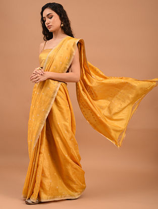Yellow Handwoven Tussar Silk Saree