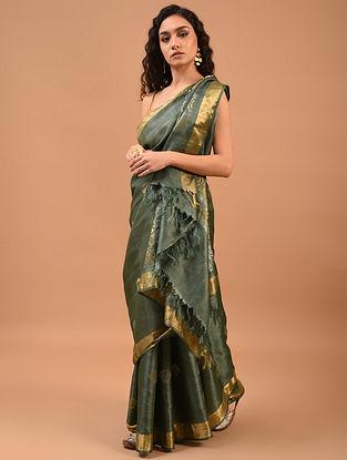 Grey Handwoven Tussar Silk Saree