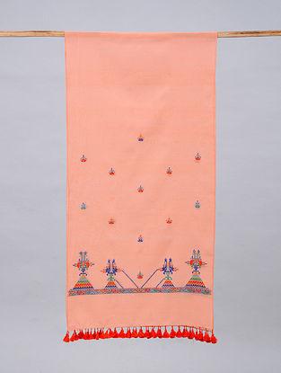 Pink Soof Embroidered Maheshwari Silk Stole