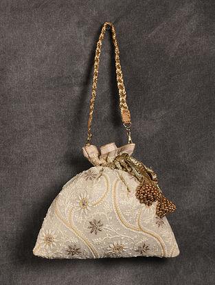 Cream Handcrafted Chikankari Silk Potli