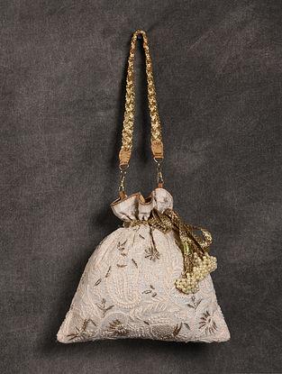 White Handcrafted Chikankari Silk Potli