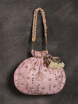 Baby Pink Handcrafted Chikankari Mukaish Silk Potli