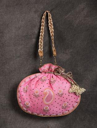 Pink Handcrafted Chikankari Mukaish Silk Potli