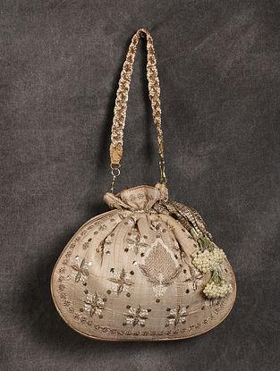 Beige Handcrafted Chikankari Mukaish Silk Potli