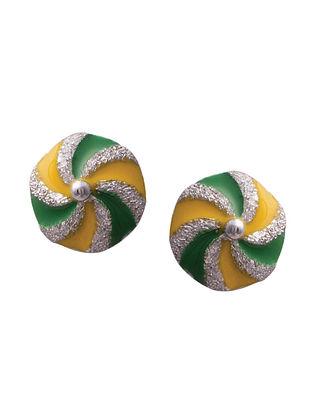 Green Yellow Silver Earrings For Kids