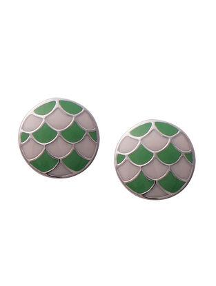 Green Silver Earrings For Kids