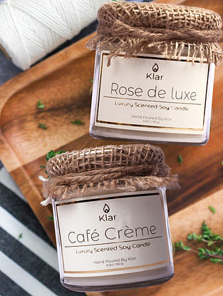 Cafe Creme & Rose de Luxe  - Luxury Scented Soy Candle Giftset - Set of 2