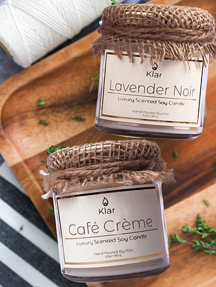 Cafe Creme & Lavender Noir  - Luxury Scented Soy Candle Giftset - Set of 2