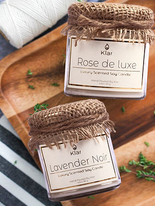 Rose de Luxe & Lavender Noir  - Luxury Scented Soy Candle Giftset - Set of 2