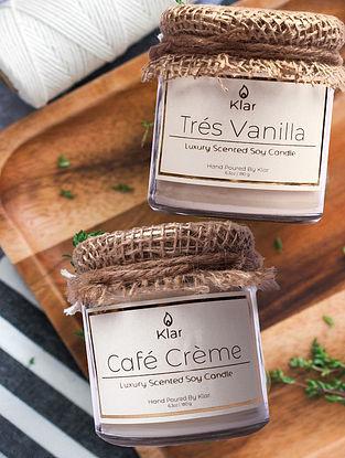Tres Vanilla & Cafe Creme - Luxury Scented Soy Candle Giftset - Set of 2